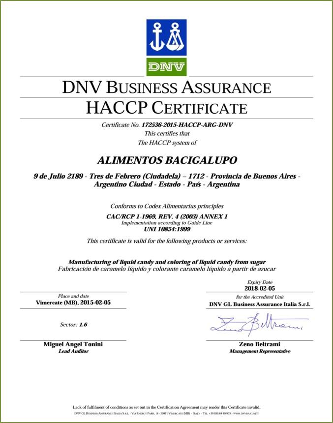 DN Business Assurance HACCP Certificate